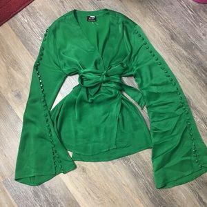 Bardot viscose- silk top long sleeve size  small
